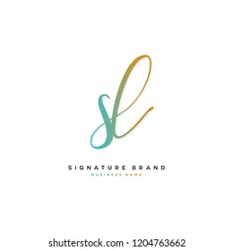 S L SL Initial letter handwriting and  signature logo concept design