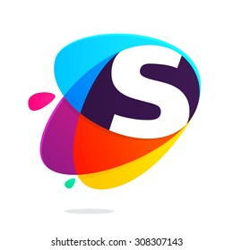 S letter with ellipses intersection logo. Abstract trendy multicolored vector design template elements for your application or corporate identity.