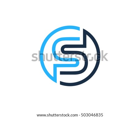 s letter line circle logo design のベクター画像素材 ロイヤリティ