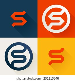 S letter line logo set, design template elements