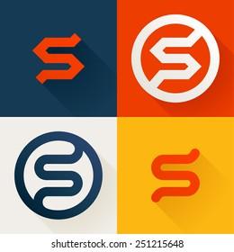 S letter line logo set, design template elements