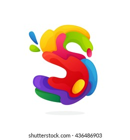 S letter logo with colorful juice splashes. Font style, vector design template elements for your application icon, card or corporate identity.