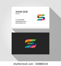 S Letter Logo Colorful Wavy Abstract Business card design template