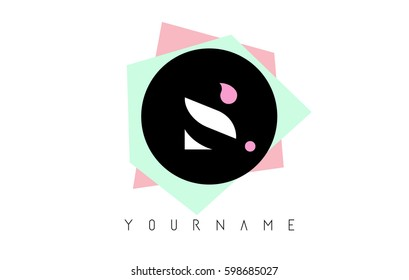 S  Letter Logo Design with Geometric Pastel Colored Shapes.