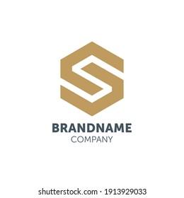 S letter logo design with hexagon