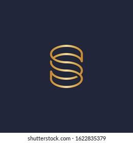 S letter logo - double S monogram in monoline style