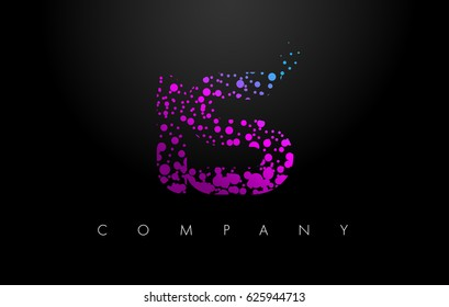 IS I S Letter Logo with Purple Blue Particles and Bubble Dots Design Vector.