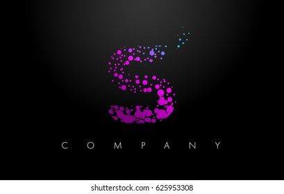S Letter Logo with Purple Blue Particles and Bubble Dots Design Vector.