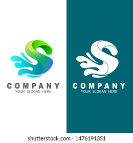 S letter logo, logo letter s with water drop and 3d design illustration
