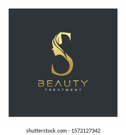 S Letter Luxury Beauty Face Logo Design Vector