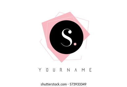 S Letter Pastel Geometric Logo Design with Round and Rectangular Shapes.