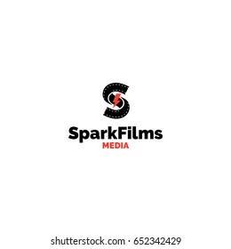 S letter production studio logo. Creative spark and film tape vector media symbol