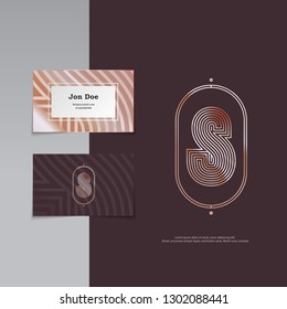 S letter vintage monogram and business card, lines style, vector, eps 10