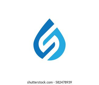 S Letter with water drop Logo Template vector illustration design