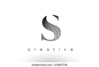 S Logo Design With Multiple Lines. Artistic Elegant Black and White Lines Icon Vector Illustration.