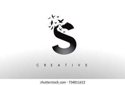 S Logo Letter with Flying Flock of Birds Disintegrating from the Letter. Bird Fly Letter Icon.