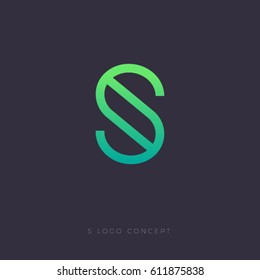 S logo. S letter linear emblem. S green monogram isolated, on dark background.