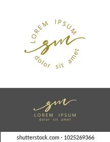 S M. Handdrawn Brush Monogram Calligraphy Logo Design