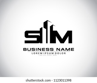 S M Initial logo concept with building template vector.