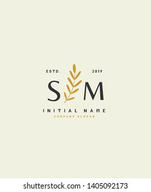 S M SM Beauty vector initial handwriting logo of wedding, fashion, jewerly, heraldic, boutique, floral and botanical with creative template for any company or business.