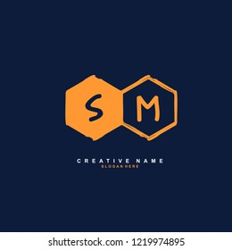 S M SM Initial logo template vector