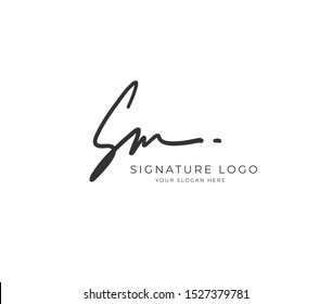 S M SM Initial signature handwriting or handwritten logo for identity. Logo with hand drawn style.