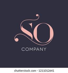 S O logo design vintage style