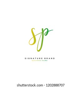 S P SP Initial letter handwriting and  signature logo concept design