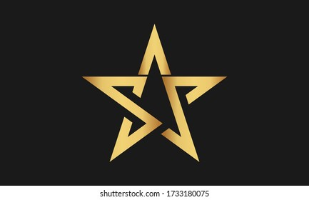 S , P , SP , PS Letter with Star Logo Template vector icon illustration design. Modern Star logo in elegant style with Black Background