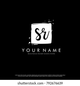 S R initial square logo template vector