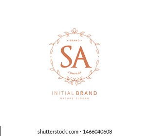 S A SA Beauty vector initial logo, handwriting logo of initial signature, wedding, fashion, jewerly, boutique, floral and botanical with creative template for any company or business.
