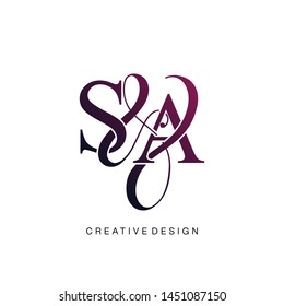 S & A / SA logo initial vector mark. Initial letter S and A SA logo luxury vector logo template.