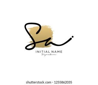 S A Signature initial logo template vector