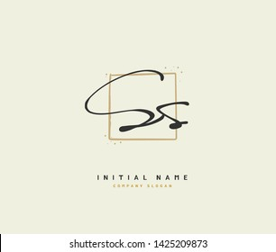 S SS Beauty vector initial logo, handwriting logo of initial wedding,  fashion, jewerly, signature, boutique, floral and botanical with creative  template for any company or business.