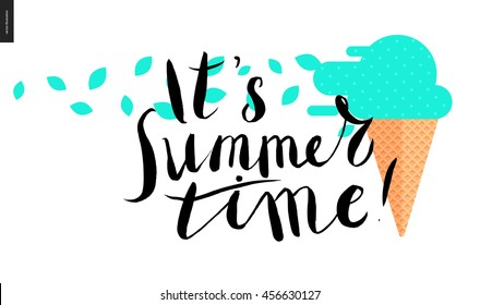 it s summer time, lettering - a vector cartoon black brush hand written text and mint ice cream in waffle cone with mint leaves blown with the wind