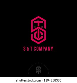 S, T and C letters. S, T, C monogram consist of red lines. Intertwined letters, isolated on a dark background. Monochrome option.