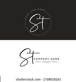 S T ST Initial letter handwriting and signature logo.
