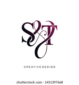 S & T / ST logo initial vector mark. Initial letter S and T ST logo luxury vector logo template.