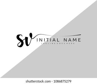 S V Initial handwriting logo vector. Hand lettering for designs.