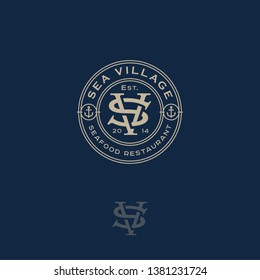 S and V monogram. Sea Village, seafood restaurant logo. S and V are crossed letters in a circle.