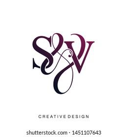 S & V / SV logo initial vector mark. Initial letter S and V SV logo luxury vector logo template.