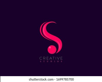 S Vector logo design with elegant Wave design and Pink color for E-commerce, IT, Company, Super Market, Products, Education, Food, Agency, Creative, Medical, Hotel, Entertainment, Media, Music, Social