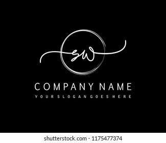 S W Initial handwriting logo vector
