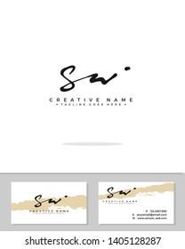 S W SW initial handwriting logo template vector.  signature logo concept