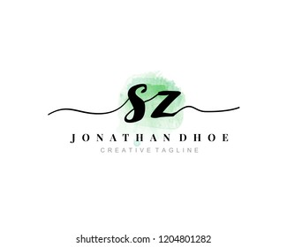 S Z SZ Initial watercolor logo on white background. Logo template vector