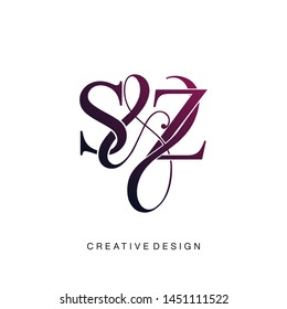 S & Z / SZ logo initial vector mark. Initial letter S and Z SZ logo luxury vector logo template.
