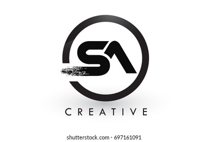 SA Brush Letter Logo Design with Black Circle. Creative Brushed Letters Icon Logo.