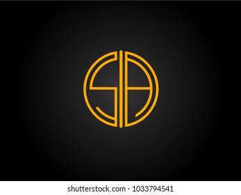 SA Circle Shape golden yellow Letter logo Design