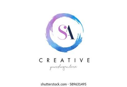 SA Circular Letter Brush Logo. Pink Brush with Splash Concept Design.