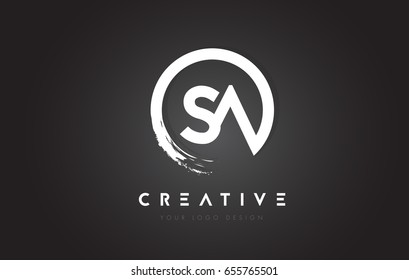 SA Circular Letter Logo with Circle Brush Design and Black Background.